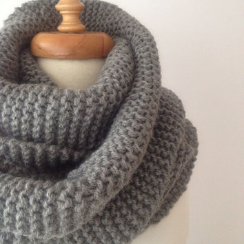 Gray Long and Chunky Scarf , For Women, or For Men, Gray Scarf