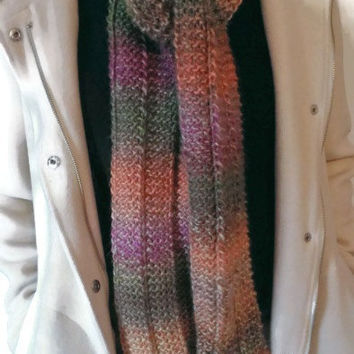 Handmade Multicolor Winter Scarf, Colorful Scarf, Rainbow Scarf, Warm Scarf