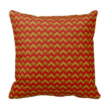 2015 Grad Chevron Pillow, Red-gold