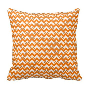 2015 Grad Chevron Pillow, Orange-White