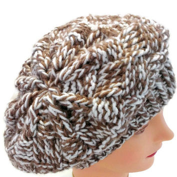 Handmade Brown and White Warm Winter Hat, Brown and White Snow Hat, Brown and White French Beret, Brown and White Slouchy Hat