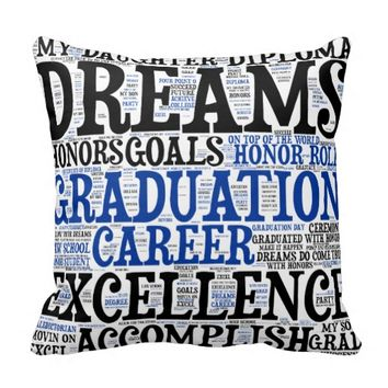 Graduation Word Cloud Throw Pillow
