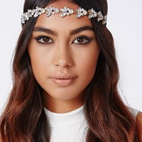 Missguided - Zoey Floral Embellished Headband Silver