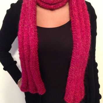 Handmade Chunky, Warm, Pink Winter Scarf with Subtle Hints of Gold, Short Scarf