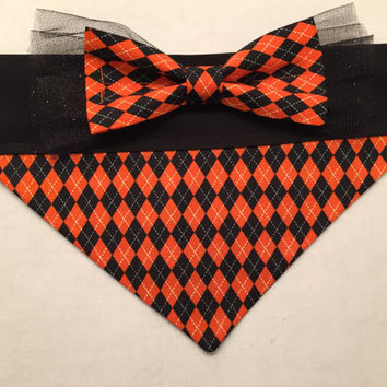 Dog Bandana - Halloween Argyle with Black Tulle