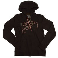 Volcom Who Bad Ladies Zip-Up Hooded Sweatshirt Ladies Medium Black
