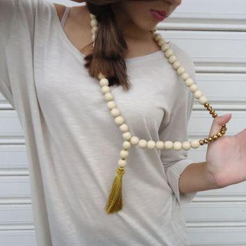 Long necklace,statement necklace,gold tassel.Wood bead necklace,natural wooden beads with a silky golden tassel.