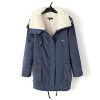 Promithi Women's Winter Parka Fur Collar Thick Padded Long Coat Outerwear Jacket