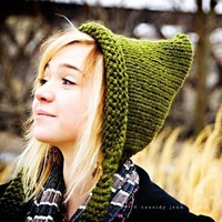 Hand Knit Hat Pixie Hat in Olive Green by pixiebell on Etsy