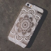 Clear Plastic Case Cover for Apple iPhone 5/5S, 5C, 6, 6Plus 6+ - Henna Full Mandala pattern ethnic hipster mayan teal dream catcher dreamcatcher floral flower