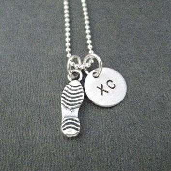 Sterling Silver RUN XC - RUNNING SHOE or SHOE PRINT Necklace - Choose a 3 DIMENSIONAL RUNNING SHOE or RUNNING SHOE PRINT - Sterling Silver pendant on Sterling Silver chain or Leather and Sterling