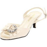 Annie Shoes Women`s Bev Slingback Sandal,Ivory Satin,9 B US