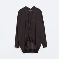 Long-sleeved mixed fabric jacket