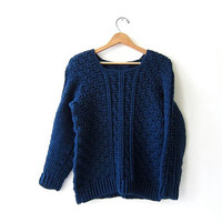 vintage dark blue chunky sweater. hand woven sweater. chunky knit pullover.