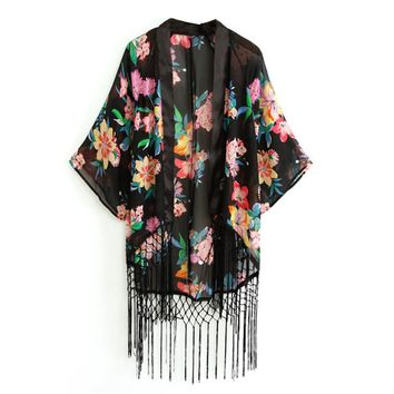 Finejo Women's Retro Ethnic Floral Tassels Loose Kimono Cardigan Coat
