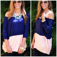 Block Party Navy & Peach Top
