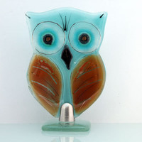 Fused glass Standing owl sculpture, Housewarming Gift