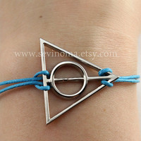 Deathly Hallows bracelet, silver deathly hallows charm blue wax rope bracelet, Harry potter