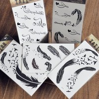 "Waterproof Non-toxic Temporary Tattoo Stickers Pack of 5 pcs with Black Feather and Swallow Birds Theme Pattern Size 3.06""X5.13"""