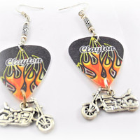 Earrings- Flames Guitar Pick/ Motorcycle Charm/ Biker/ Flames/ Red, Black, Orange, Yellow- OOAK Jewelry