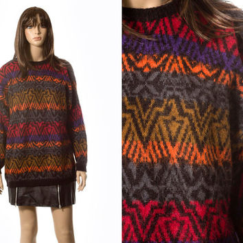 Aztec phoenix oversized multicolor sweater tribal Southwestern inspired