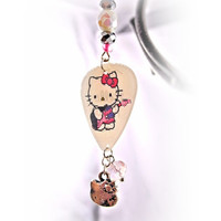 Earrings- Hello Kitty Motion Guitar Pick/  Crystal Beads/ White, Pink, Black, - OOAK Jewelry