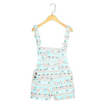 Women's Square and Deer Printed Short Playsuit