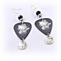 Earrings- Hello Kitty Guitar Pick/  Crystal Beads/ Black and Silver - OOAK Jewelry