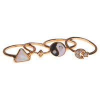 Star & Moon Mixed Ring Set | Wet Seal