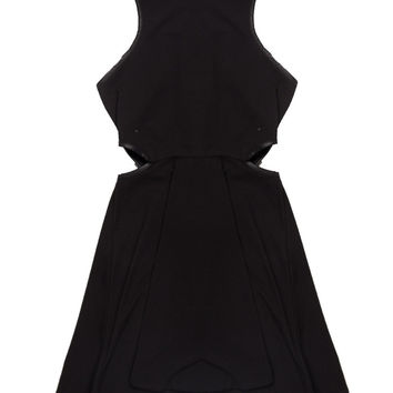 LEATHER TRIM CUT OUT SKATER DRESS