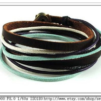 Adjustable Bracelet Cuff made of Brown Leather Multicolour Ropes and metal Woven Snapper  527S