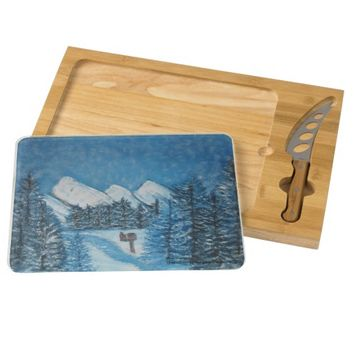 Blue Winter-Painting Cheese Board