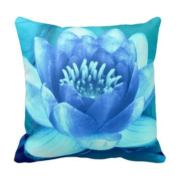 Aqua Blue Waterlily Throw Pillow-Style 2
