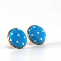 Stud Earrings - Cyan Blue Earring Studs - White Polka Dots Fabric Buttons  - Fresh Jewelry - Blue Country Earring Posts