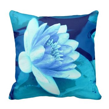 Aqua Blue Waterlily Throw Pillow-Style 3