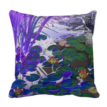 Waterlilies Blue Throw Pillow