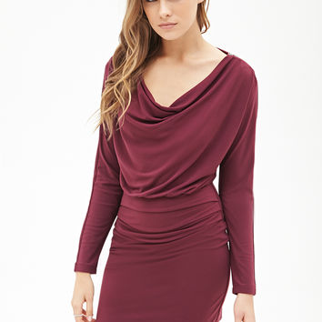 LOVE 21 Ruched Knit Dress Eggplant