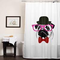 PUG crazy custom shower curtain