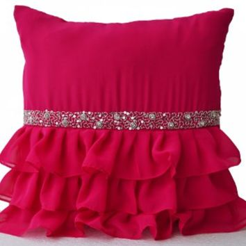 Cute Hot Pink Ruffled Beaded Throw Pillow Covers -Decorative Pillow Covers -Pink Cushion Cover -Gift Pillow Covers- Crystal Pillow Covers- Pink Ruffle Pillow Cases -Dorm Decor -Girl Pillow Cover (12x12)
