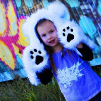 Childrens Faux Fur Polar Bear Hooded Hat with Hand Pockets - Whimsical & Unique Gift Ideas for the Coolest Gift Givers