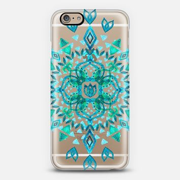 Aqua Watercolor Lotus Mandala on transparent iPhone 6 case by Micklyn Le Feuvre | Casetify