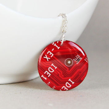 Red geeky necklace - red circuit board - recycled computer jewelry