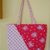 Handmade Designer Tote Bag,  . Cath Kidston TFloral Tote Bag, Shopping Tote, Travel Tote, Fabric Tote.