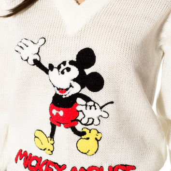 Mickey Mouse sweater fitted v neck cream off white