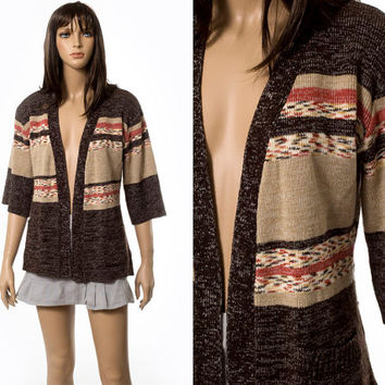Space dyed Aztec Southwestern cardigan sweater
