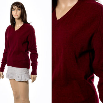 V neck sweater top wine red Australian lambswoodl