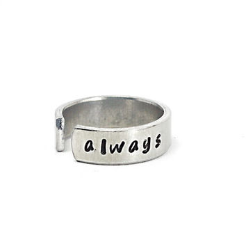 Always Ring, Personalized Hand Stamped Ring, Adjustable Aluminium Cuff Ring