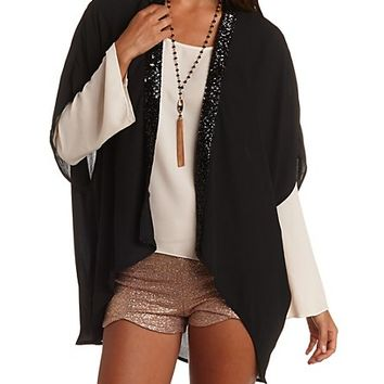 Sequin Trimmed Chiffon Kimono Top by Charlotte Russe - Black