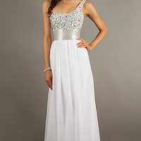 One Shoulder Jeweled Gown by La Femme