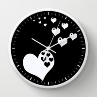 Black & White Hearts of Love Wall Clock by Beautiful Homes